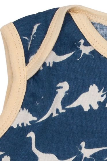 Blue Dinosaur Sleeveless Baby Vest Fastening Detail 2