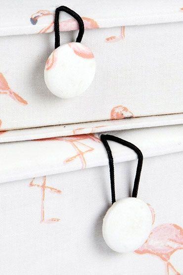 Flamingo Fabric Box Set Button Detail