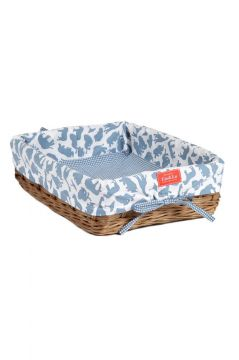 Safari Blue Wicker Tray
