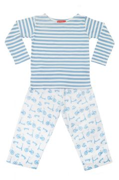Bicycle Blue Striped T Shirt Pyjamas