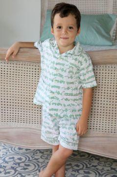 Tractor Green Short Pyjamas