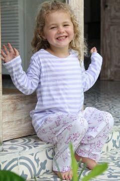 Lilac Blossom Striped T-Shirt Pyjama