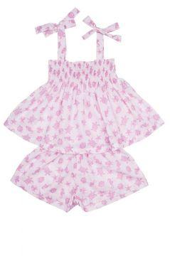 Ocean Pink Gathered Short Set