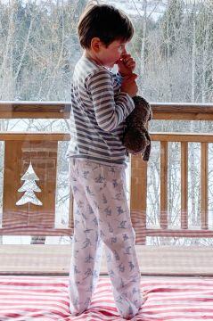 Skiing Blue Striped T-Shirt Pyjama